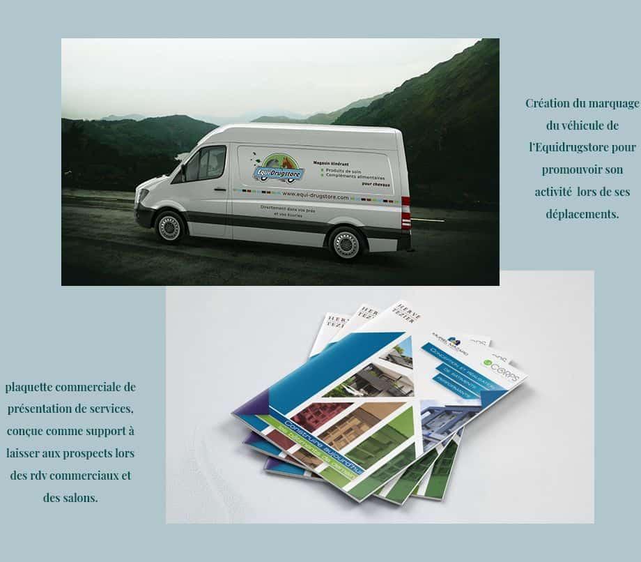 plaquette commerciale et marquage camion faits par une graphiste de Valence